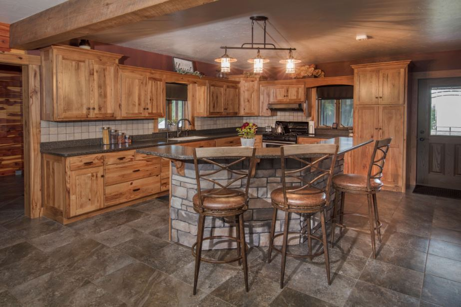 Rustic Hickory Kitchen Cabinet